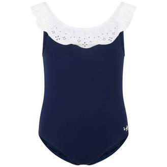 Il Gufo Il GufoGirls Navy Swimsuit With Ruffle