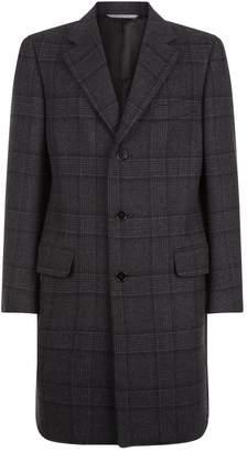 Canali Check Wool Longline Coat