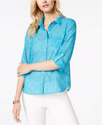 Tommy Hilfiger Palm-Print Roll-Tab Shirt, Created for Macy's