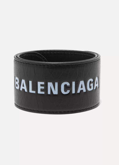 Balenciaga - Cycle Printed Textured-leather Bracelet - Black