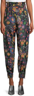 Tibi Floral-Print Ruffle Tech Jogger Pants
