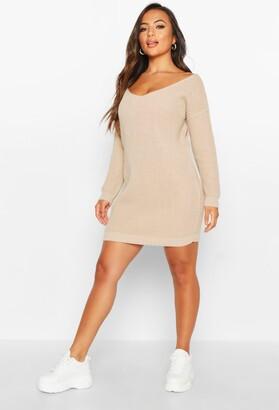 boohoo Petite V-Neck Jumper Mini Dress