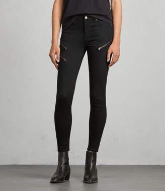 AllSaints Grace Zip Ankle Skinny Jeans