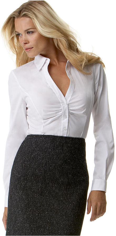 T Tahari Top, Tundra Long-Sleeve Ruched Shirt
