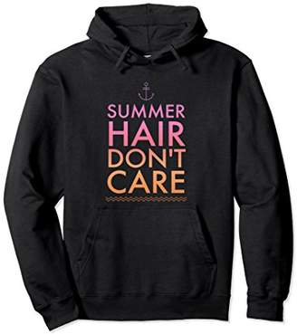 Summer Hair Don't Care Saying Hoodie Fun Pink Orange Beach