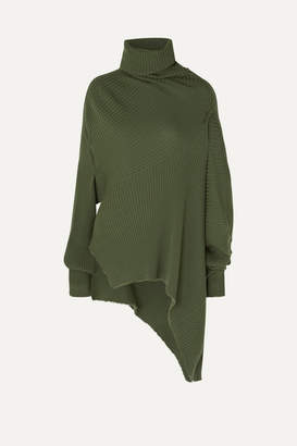 Marques Almeida Marques' Almeida - Asymmetric Draped Distressed Ribbed Wool Sweater - Army green