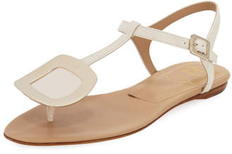 Roger Vivier Chips Flat T-Strap Leather Sandal