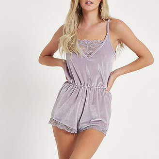 River Island Womens Petite Grey hacci lace trim lounge playsuit