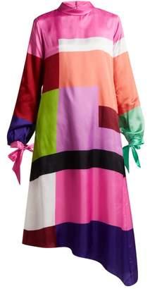 Mary Katrantzou Leonora Colour Block Satin Twill Dress - Womens - Multi