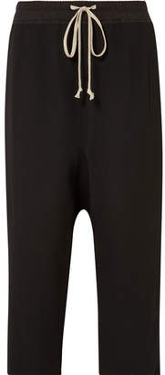 Rick Owens Cropped Cotton-jersey Trimmed Wool-blend Pants - Black