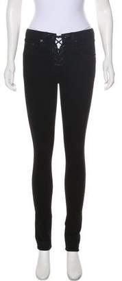 Rag & Bone Mid-Rise Lace-Up Skinny Jeans