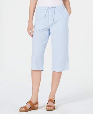 Karen Scott Cotton Seersucker Capri Pants
