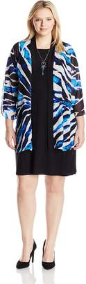 Tiana B Women's Plus Size Printed Chiffon Jacket with Shift Dress, Black/Blue, 18W