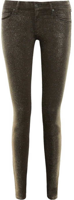 Mother The Looker glitter-finished coated mid-rise skinny jeans