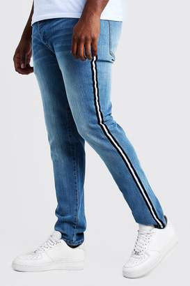 boohoo Big & Tall Skinny Fit Jeans With Side Tape