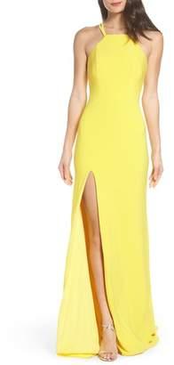 La Femme Open Back Jersey Halter Gown