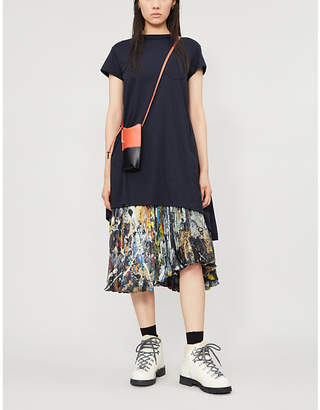 Sacai Embroidered-trim cotton-jersey mini dress