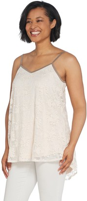 Logo By Lori Goldstein LOGO Lavish by Lori Goldstein Embroidered Mesh Camisole