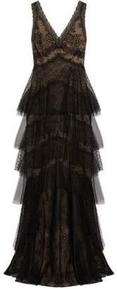 Marchesa Tiered Tulle And Pointe D'esprit-Paneled Lace Gown