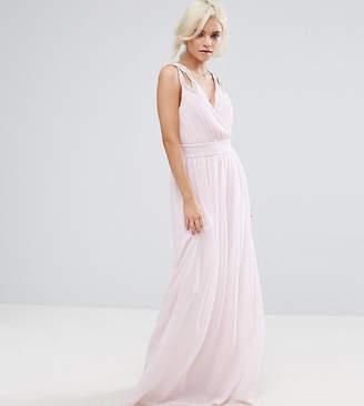 TFNC Petite WEDDING Wrap Front Maxi Dress With Embellishment