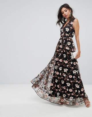 True Decadence All Over Embroidered V Neck Maxi Dress
