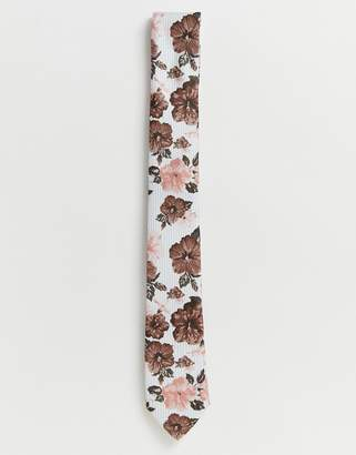 Twisted Tailor striped tie with floral print
