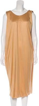 Bottega Veneta Silk Pleated Dress Tan Silk Pleated Dress