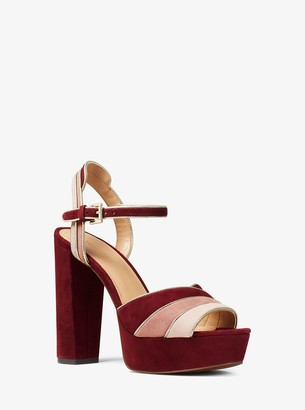 MICHAEL Michael Kors Harper Tri-Color Suede Platform Sandal