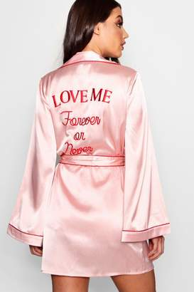 boohoo 'Forever Or Never' Embroidered Satin Robe