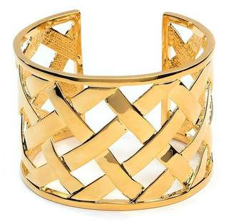 Kenneth Jay Lane Polished Gold Basketweave Cuff
