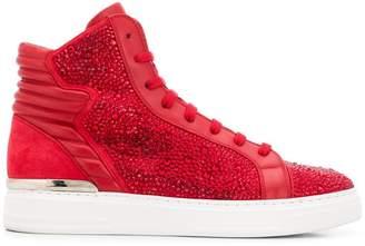 Philipp Plein rhinestone embellished hi-top sneakers