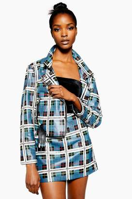 Topshop Check Leather Jacket