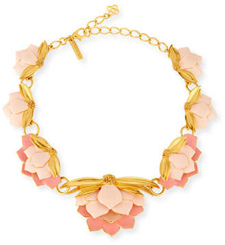 Oscar de la Renta Painted Wild Lotus Necklace