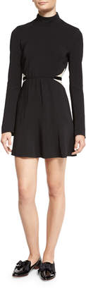 Rachel Zoe Kristi Bicolor Lace-Inset Turtleneck Dress