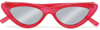 Le Specs + Adam Selman The Last Lolita Cat-eye Acetate Mirrored Sunglasses