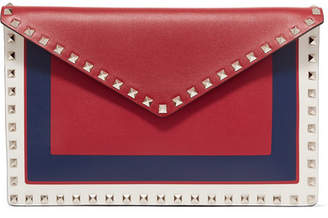 Valentino Garavani The Rockstud Large Color-block Leather Pouch - Red