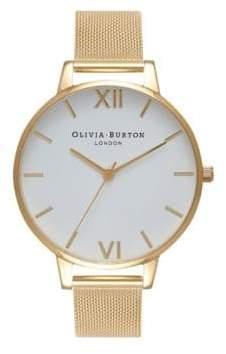 Olivia Burton Analog White Dial Mesh Goldtone Watch