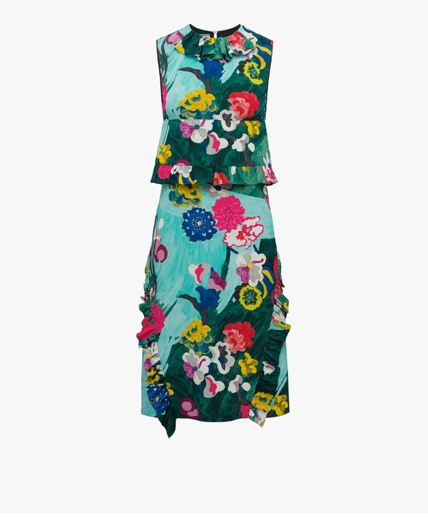Prada Prada Print Silk Dress With Ruching
