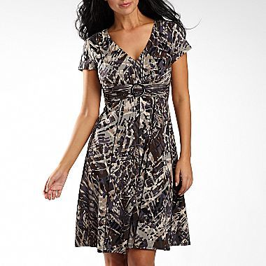 JCPenney Perceptions Buckle-Front Print Dress - Petite