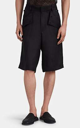 Jacquemus Men's Button-Detailed Linen-Blend Shorts - Black