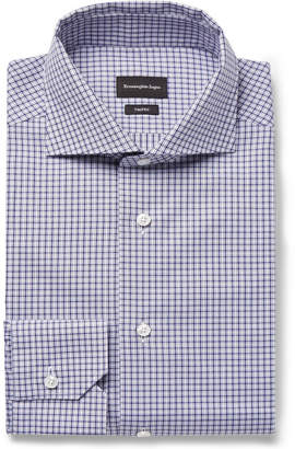 Ermenegildo Zegna Trofeo Slim-Fit Cutaway-Collar Checked Cotton-Poplin Shirt