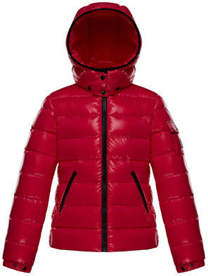 Moncler Bady Fitted Puffer Jacket, Fuchsia, Size 8-14