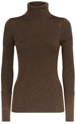 Roberto Cavalli Metallic Ribbed Roll Neck Sweater