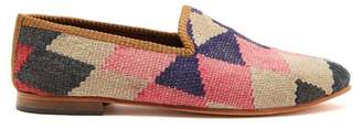 Artemis design shoes Artemis Design Shoes - Diamond Patterned Woven Kilim And Leather Loafers - Mens - Multi