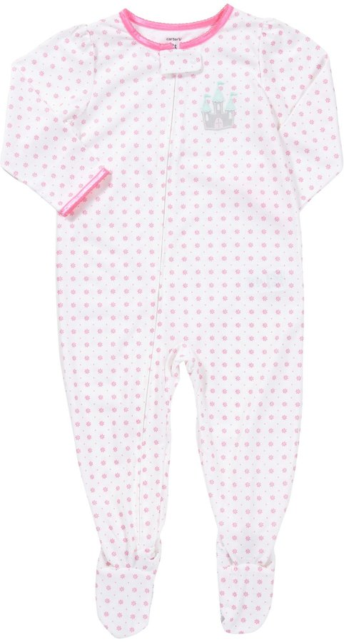 Carter's 1-Pc L/S Footed Sleeper - Pink Ditsy Flower- 5T