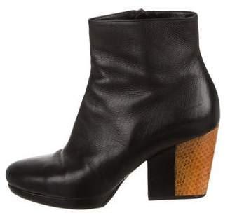 Dries Van Noten Snakeskin-Trimmed Boots