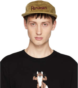 MAISON KITSUNÉ Tan Corduroy Parisien Five-Panel Cap