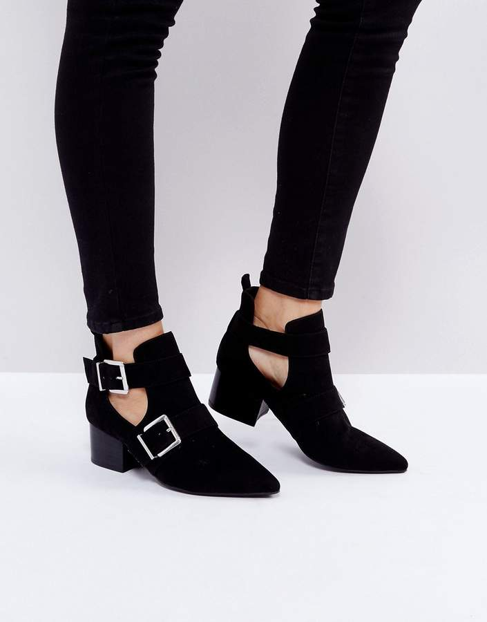 ASOS RAYON Cut Out Ankle Boots
