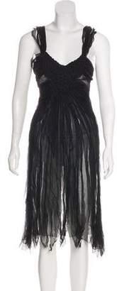 Alberta Ferretti Silk Pin Tucked Dress