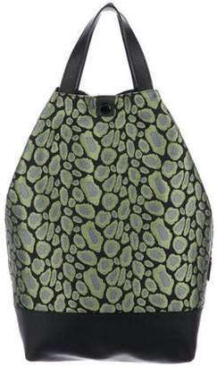 Kenzo Leather-Trimmed Jacquard Tote